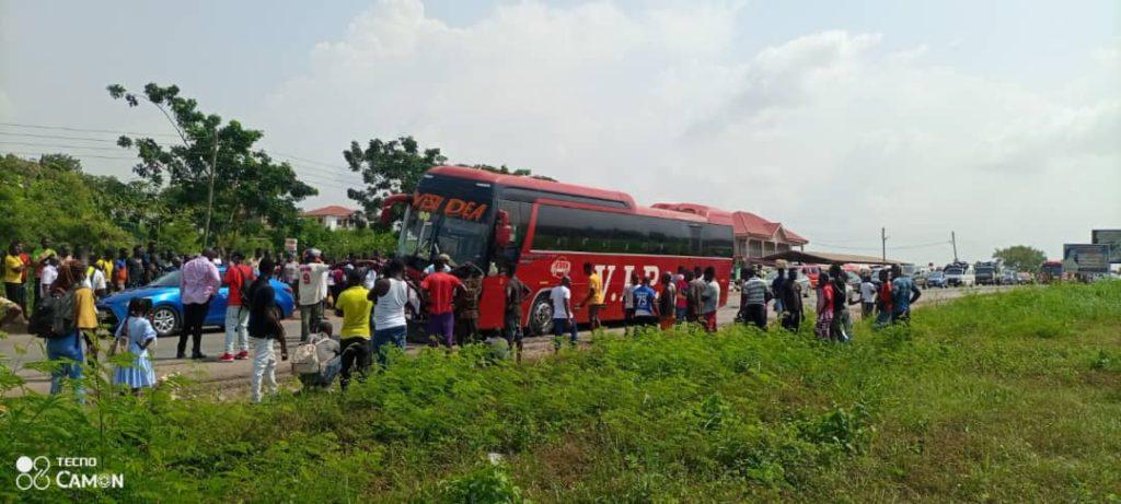 VIP Bus Crushes Motorbike Rider to Death at Nsawam 4
